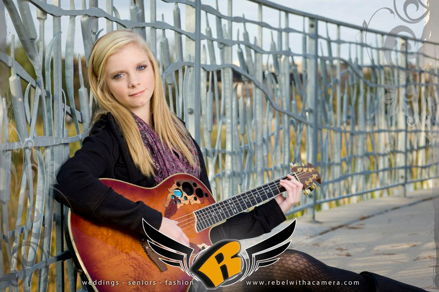 girl guitar senior portraits long center