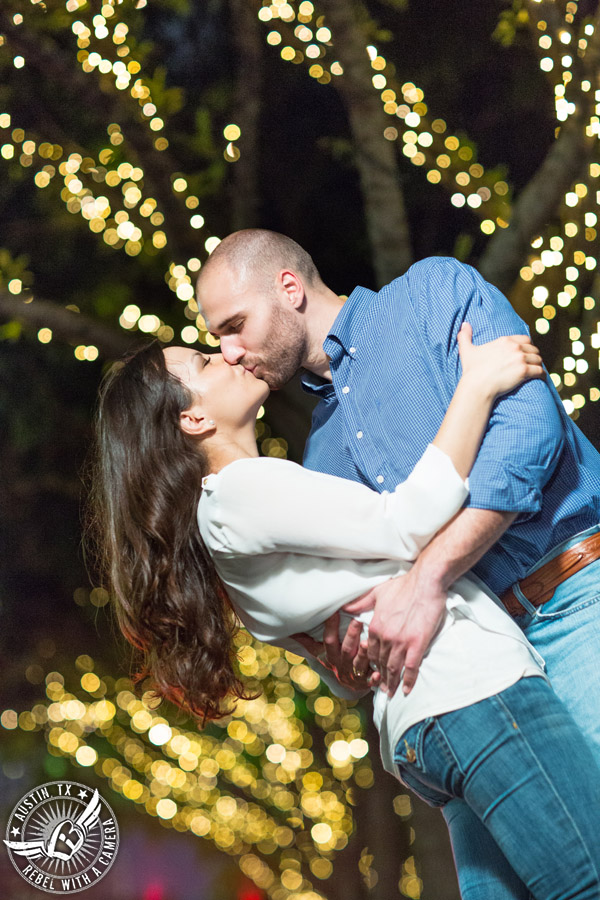 downtown austin texas engagement portraits with bokeh