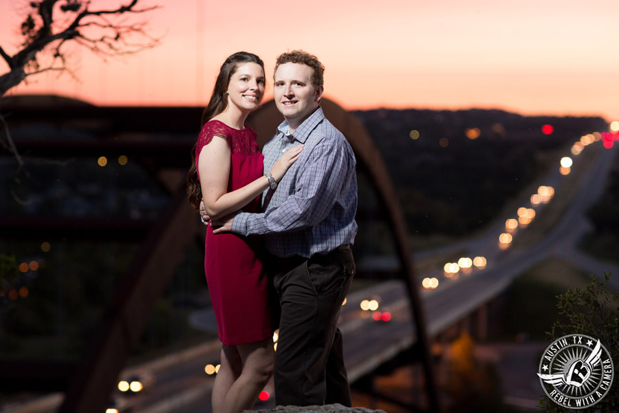 Austin engagement session at the Pennybacker Bridge on 360.