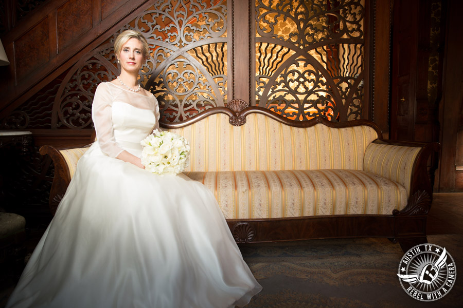 Elegant bridal portrait at Chateau Bellevue in Austin, Texas