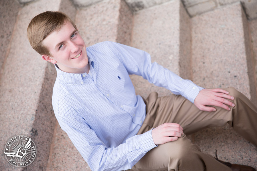 Austin senior portraits for guys at the Texas State Capitol