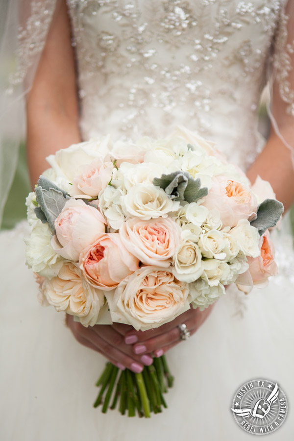 Pictures of a beautiful wedding at Gabriel Springs in Georgetown, Texas. Bouquet by Sixpence Floral Design