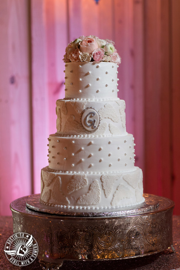 Pictures of a beautiful wedding at Gabriel Springs in Georgetown, Texas. Cake by Classy Cakes by Lori. Florals by Sixpence Floral Design.
