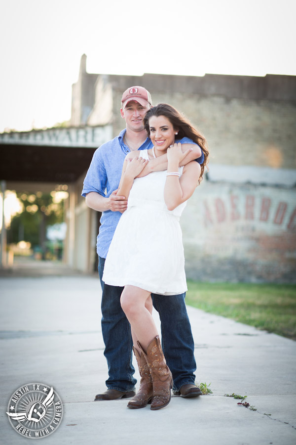 Army engagement session in Texas bride and groom in rustic country town