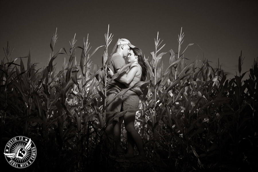 Army engagement session in Texas bride and groom in corn field