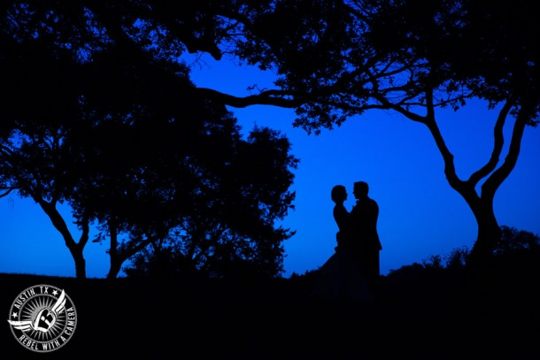 Omni Barton Creek Resort and Spa wedding photos silhouette of bride and groom at dusk