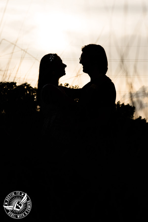 Fun Butler Park engagement session in Austin silhouette
