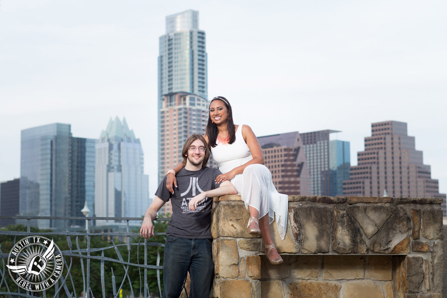 Fun Butler Park engagement session with Austin skyline