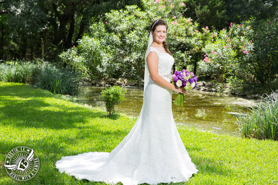 Sage Hall wedding photos at Texas Old Town bride with bouquet from STEMS Floral Design