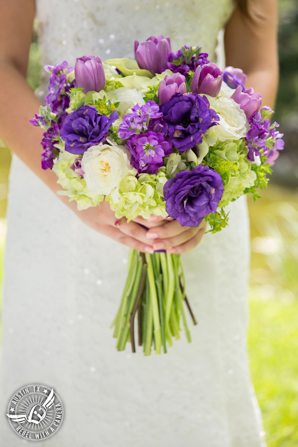 Sage Hall wedding photos at Texas Old Town purple bouquet with tulips, roses, hydrangea, calla lillies, and stock from STEMS Floral Design