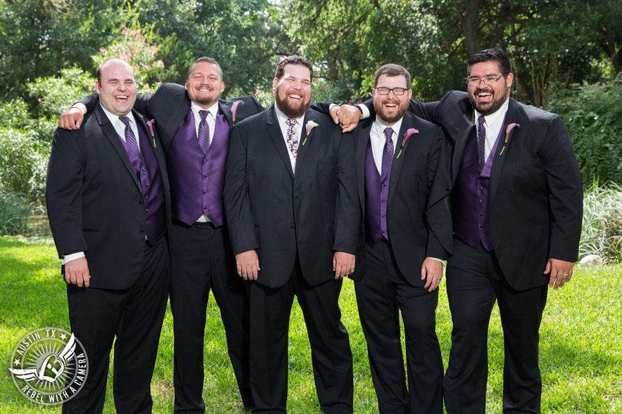 Sage Hall wedding photos at Texas Old Town groom and groomsmen in purple vests with calla lily boutonnieres from STEMS Floral Design