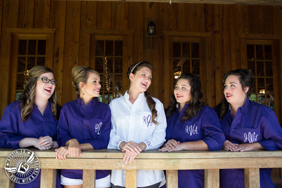 Sage Hall wedding photos at Texas Old Town bride and bridesmaids in monogrammed shirts