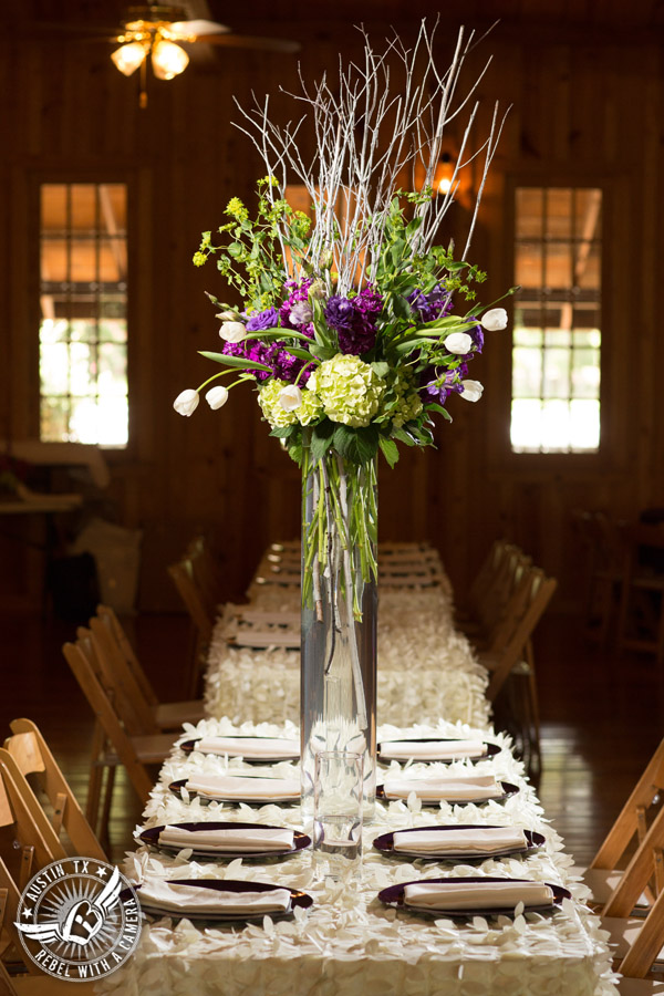 Sage Hall wedding photos at Texas Old Town head table floral centerpiece by STEMS Floral Design