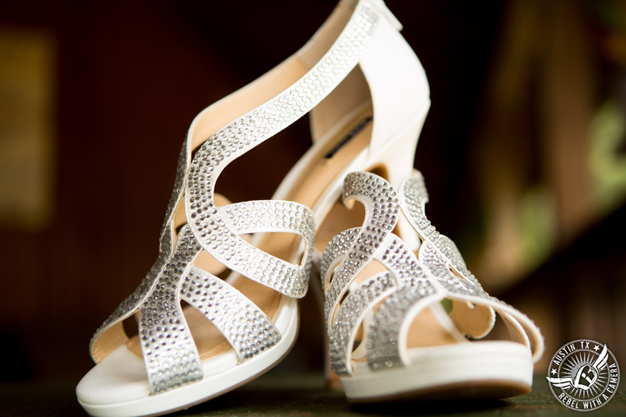 Sage Hall wedding photos at Texas Old Town bejeweled shoes for the bride