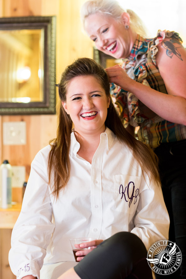 Sage Hall wedding photos at Texas Old Town bride getting hair done by Ritual Salon in bridal room