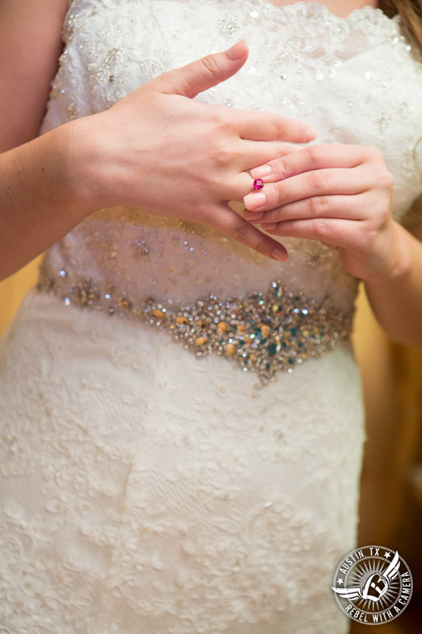 Sage Hall wedding photos at Texas Old Town bride with ruby ring in bridal room