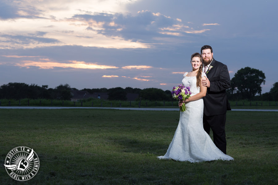 Sage Hall wedding photos at Texas Old Town sunset picture of bride and groom