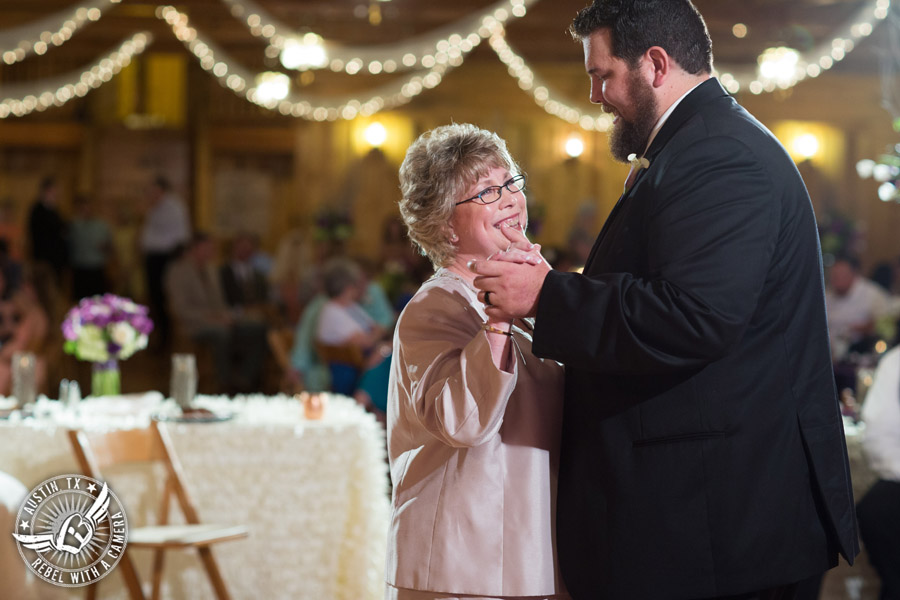 Sage Hall wedding photos at Texas Old Town groom and mom dance mother/son dance during wedding reception