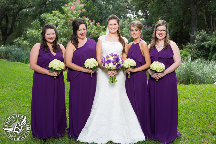 Sage Hall wedding photos at Texas Old Town bride and bridesmaids in purple dresses with bouquets from STEMS Floral Design