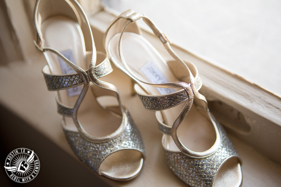 Picture of sparkly golden heels at the Driskill Hotel at a wedding in Austin, Texas