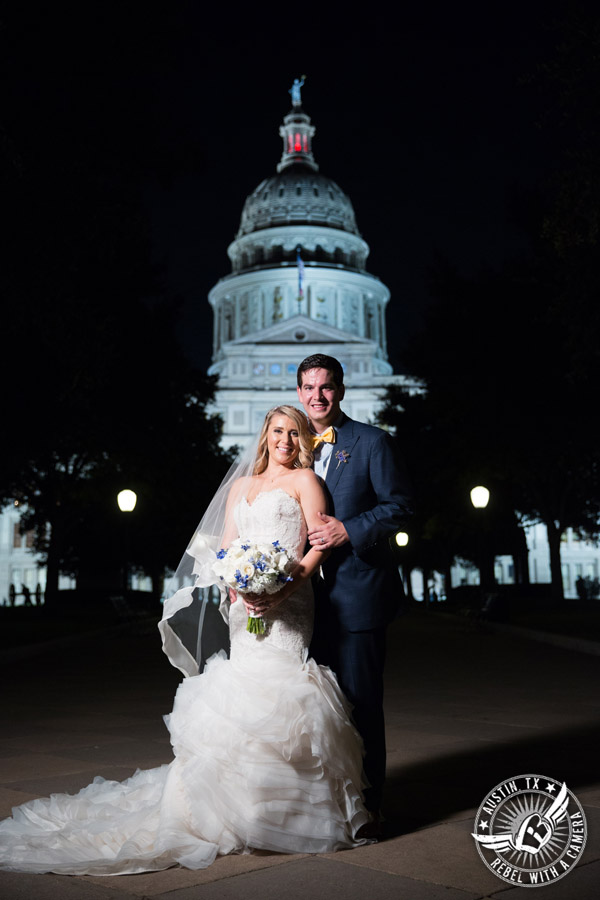 Bride and groom pictures at night at the Texas State Capitol