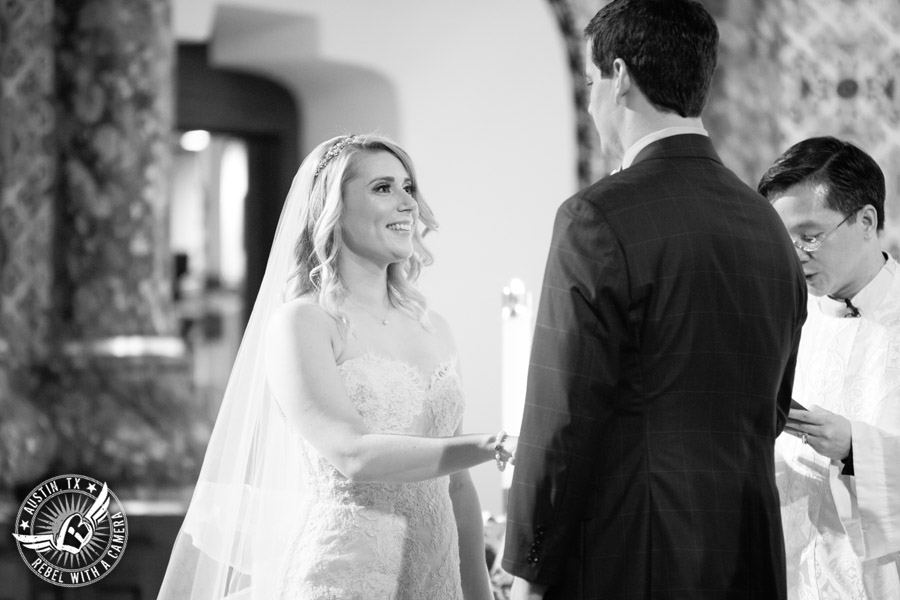 Picture of bride and groom during wedding ceremony at St. Mary Cathedral in Austin, Texas