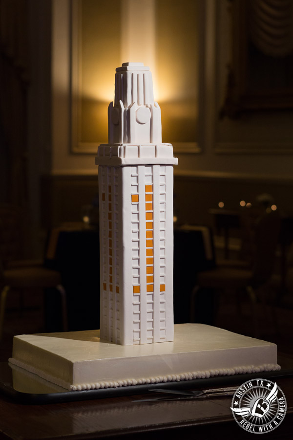 Picture of white fondant UT Tower groom's cake at wedding at the Driskill Hotel in Austin, Texas