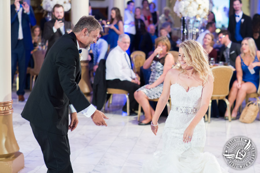 Picture of father daughter dance to the Grooves band at wedding reception at the Driskill Hotel in Austin, Texas