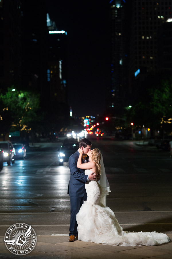 Bride and groom pictures at night in downtown Austin