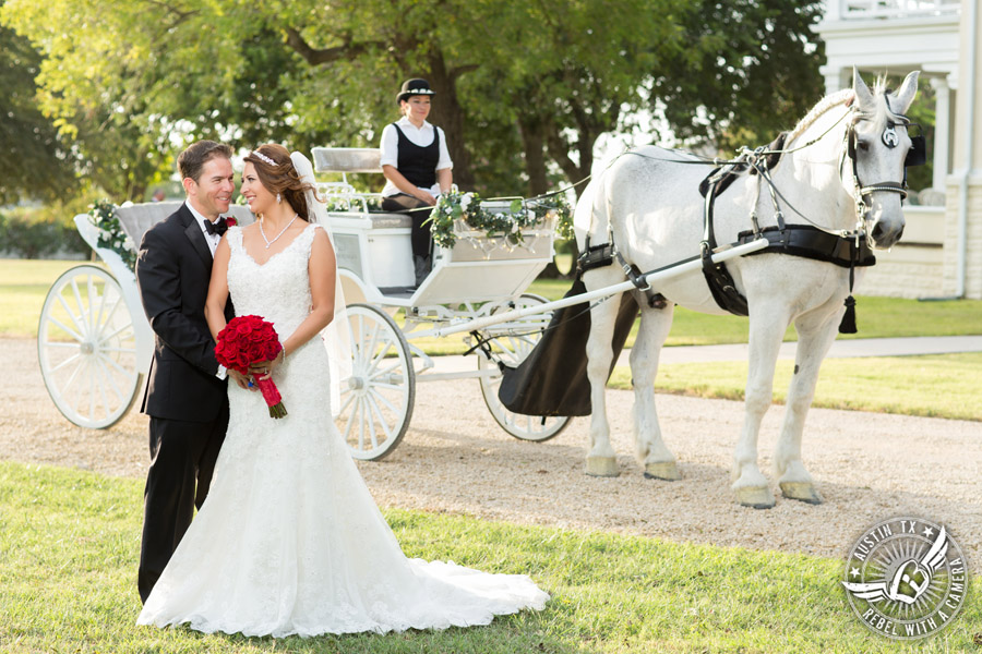 Taylor Mansion wedding photo of bride and groom with Angeli Carriages and red rose bouquet