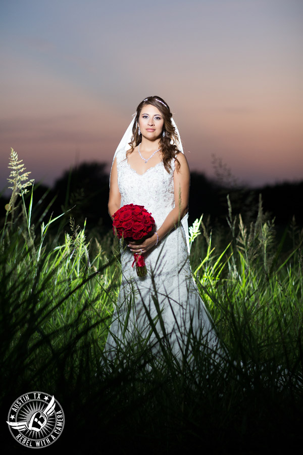 Taylor Mansion wedding photo of bride in field at sunset with red rose bouquet