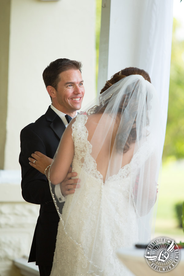 Taylor Mansion wedding photo of bride and groom at wedding ceremony