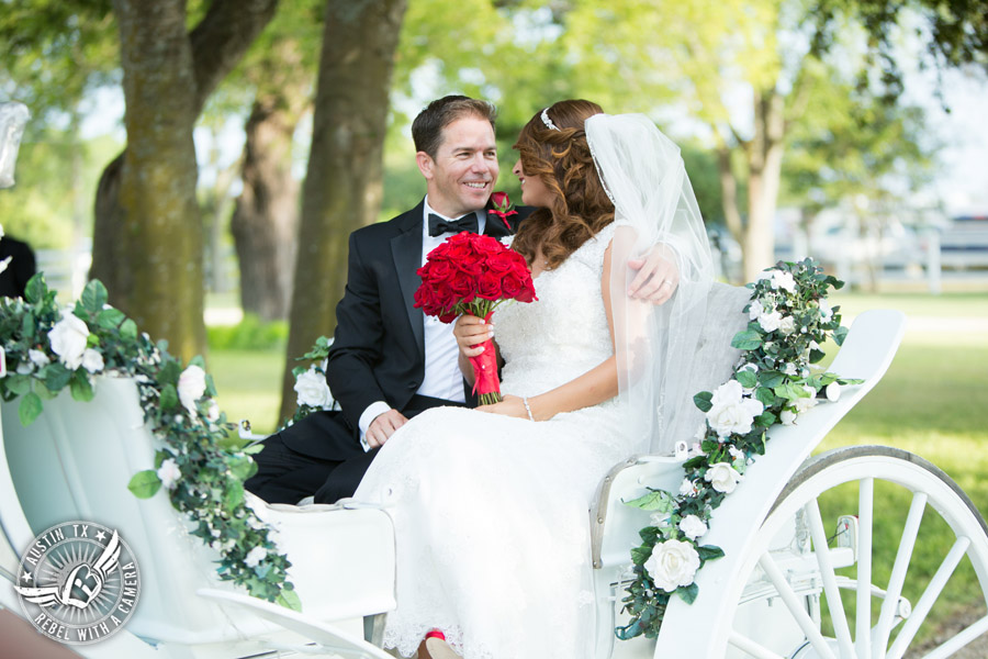 Taylor Mansion wedding photo of bride and groom in Angeli Carriage