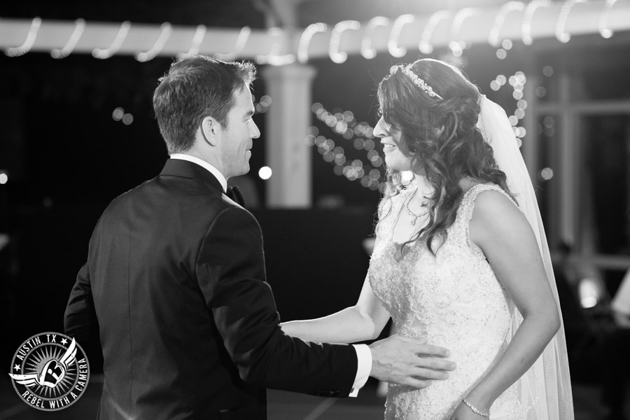 Taylor Mansion wedding photo bride and groom first dance on the patio