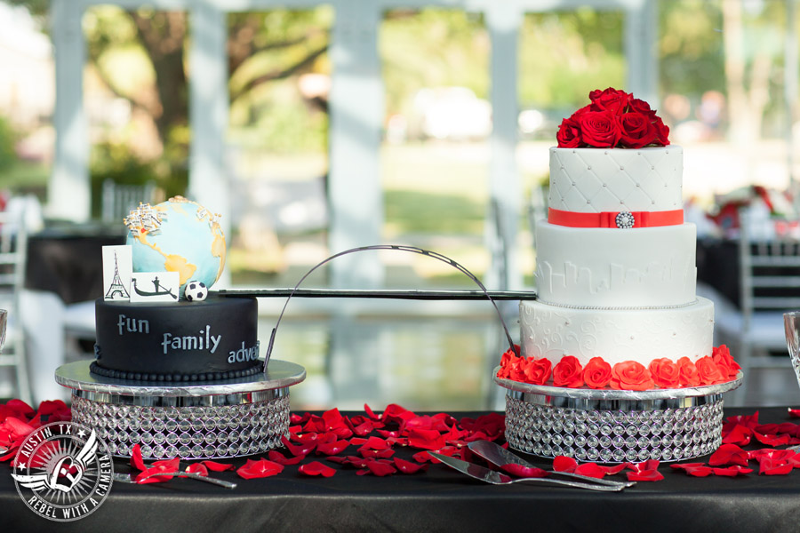 Taylor Mansion wedding photo bride's cake with red roses and travel globe groom's cake by Sweet Life of Cakes