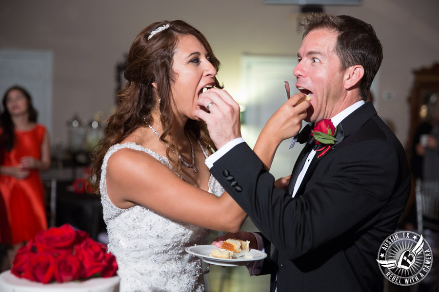 Taylor Mansion wedding photo bride and groom eat cake by Sweet Life of Cakes