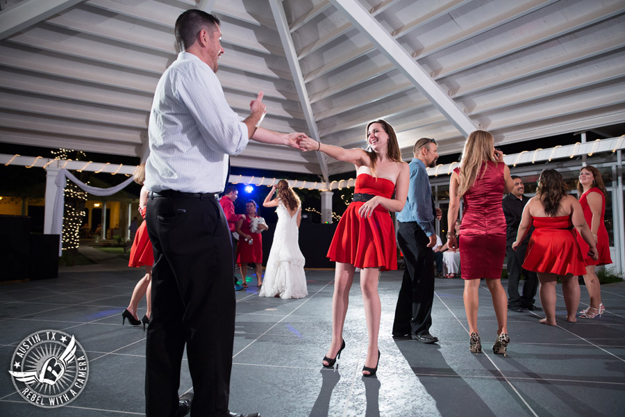 Taylor Mansion wedding photo guests dancing on the patio with 1st Class Entertainment DJ Jason