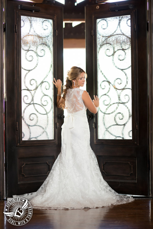 Gabriel Springs bridal portrait in Georgetown, Texas, with hair and makeup by Kiss by Katie at the Springs Events