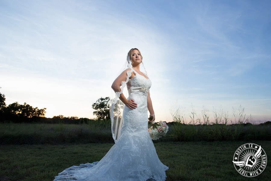 Berry Springs Park and Preserve bridal portrait in Georgetown, Texas, with hair and makeup by Kiss by Katie and bouquet by Sixpence Floral Design