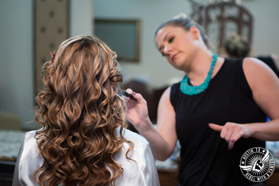 Romantic wedding pictures at The Springs Events in Georgetown, Texas - Gabriel Springs - Kiss by Katie does bride's makeup in the bride's room