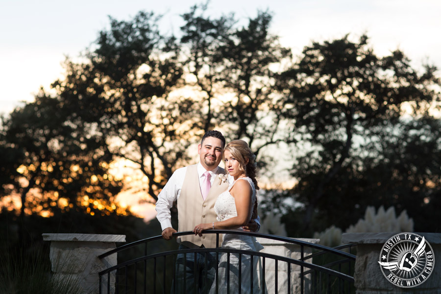 Romantic wedding pictures at The Springs Events in Georgetown, Texas - Gabriel Springs - bride and groom on bridge