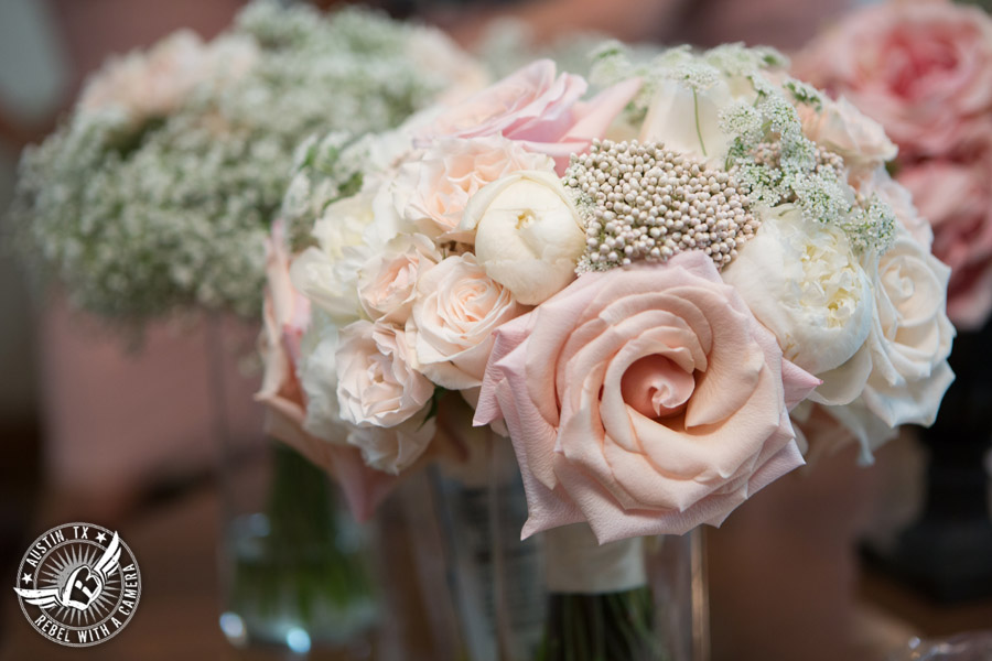 Romantic wedding pictures at The Springs Events in Georgetown, Texas - Gabriel Springs - gorgeous bridal bouquet with light pink roses by Sixpence Floral Design