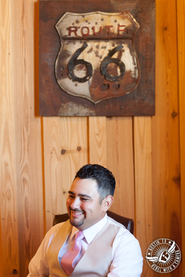 Romantic wedding pictures at The Springs Events in Georgetown, Texas - Gabriel Springs - happy groom in the groom's room