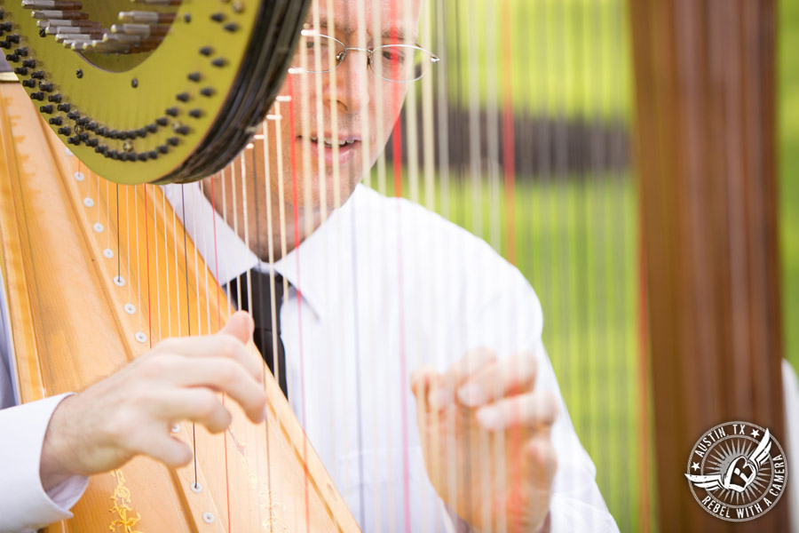 Romantic wedding pictures at The Springs Events in Georgetown, Texas - Gabriel Springs - wedding ceremony music harp played by Angelic Strings