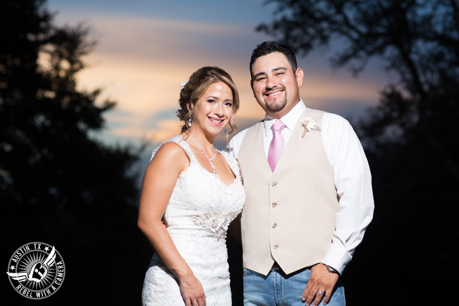 Romantic wedding pictures at The Springs Events in Georgetown, Texas - Gabriel Springs - happy bride and groom