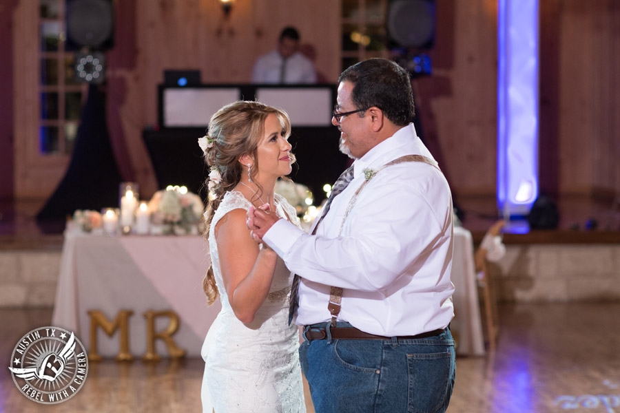 Romantic wedding pictures at The Springs Events in Georgetown, Texas - Gabriel Springs - bride and and father dance during the wedding reception with Made from Scratch Weddings DJ