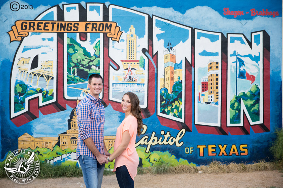 South Austin engagement session at Greetings from Austin mural