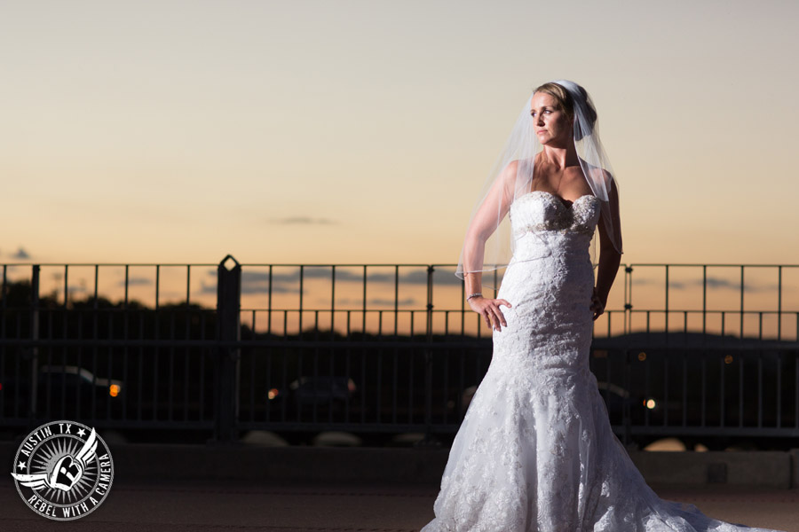 Bridal portraits on the Lamar Pedestrian Bridge in Downtown Austin, Texas.