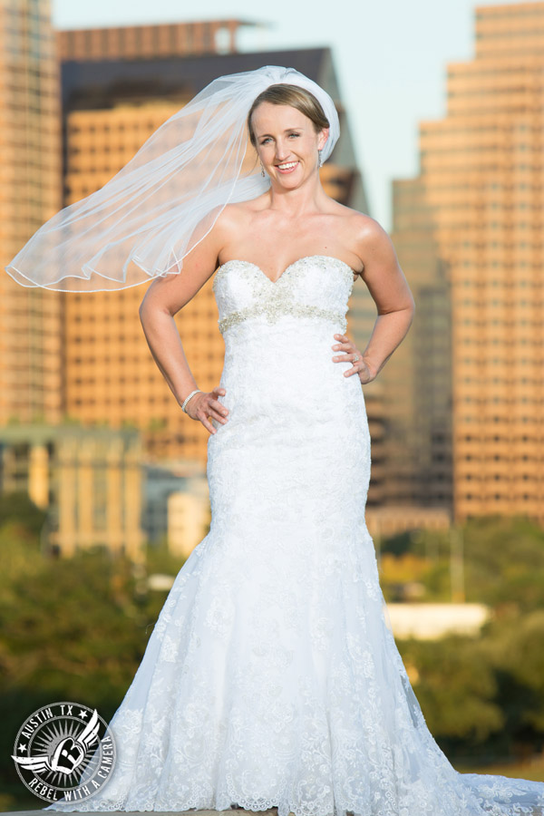 Bridal portraits at Butler Park in Downtown Austin, Texas.