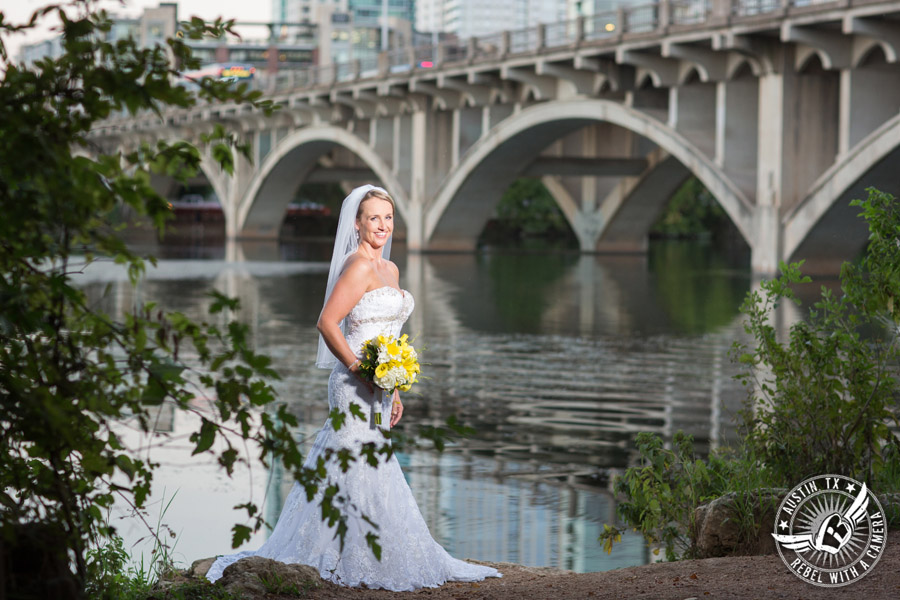 Bridal portraits on the Lady Bird Lake Hike and Bike Trail in Downtown Austin, Texas.